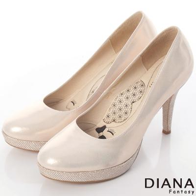 DIANA 漫步雲端LADY款--珠光晚宴真皮高跟鞋--粉金