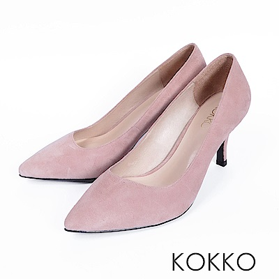 KOKKO - 經典素面鞋切尖頭麂皮高跟鞋- 粉