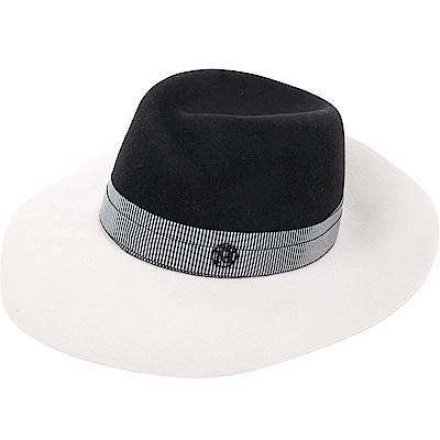 Maison Michel VIRGINIE 撞色綢緞織帶兔毛氈寬檐軟呢帽(黑x白)