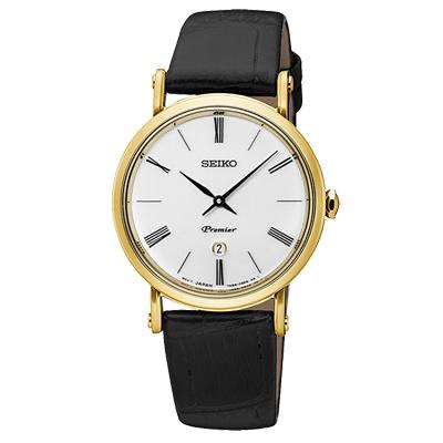 SEIKO 精工 Premier簡約薄款真皮手錶-SXB432J1-白X金框/30mm