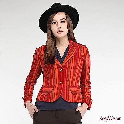 KeyWear奇威名品    歐風復古直條紋亮麗長袖外套-橘紅色