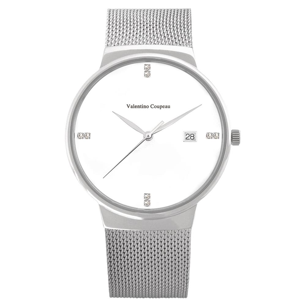 Valentino Coupeau 范倫鐵諾 古柏 時尚極簡設計腕錶【銀色/米蘭/白珠】