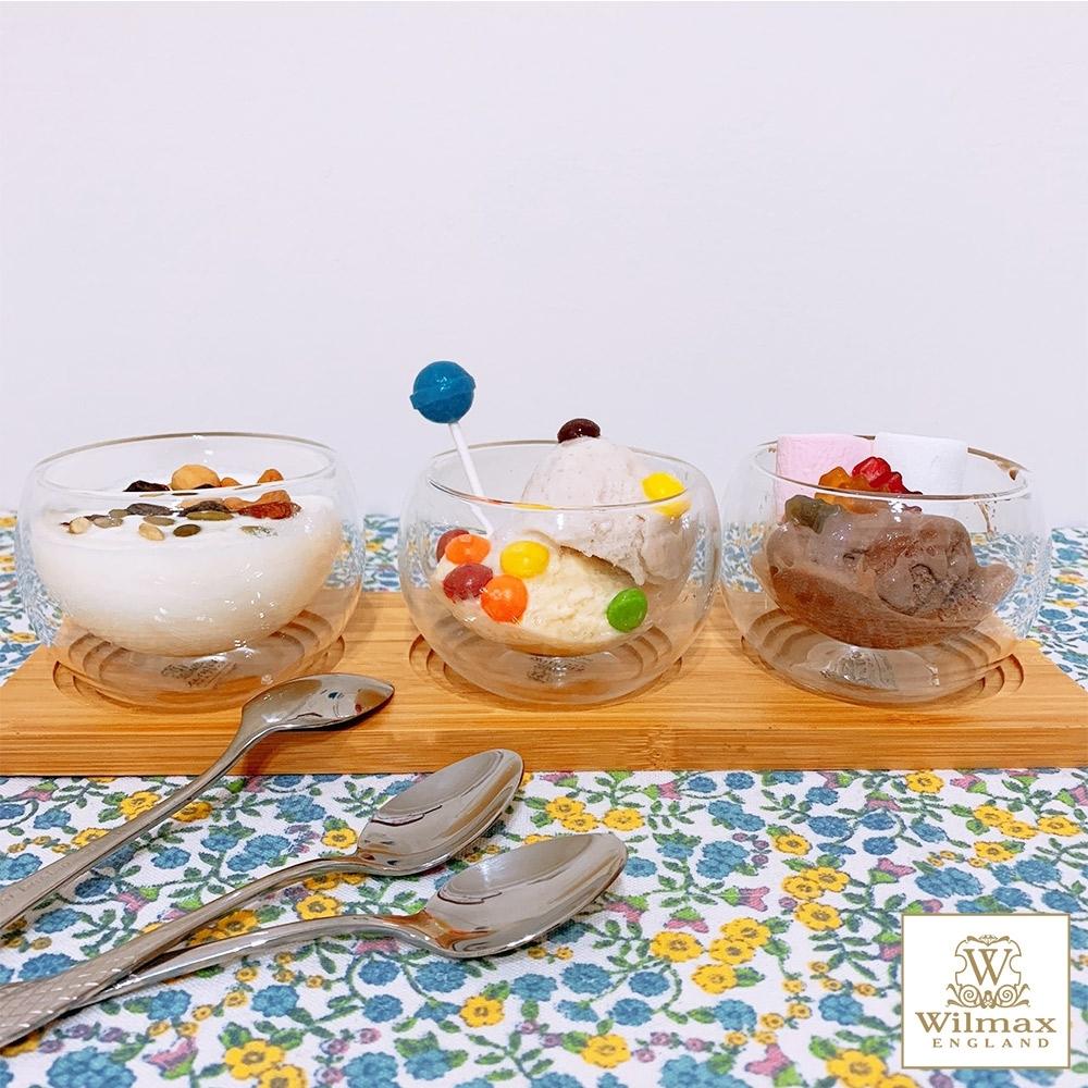 英國WILMAX 雙層隔冰耐熱玻璃茶杯250ML套組附竹製杯墊茶匙