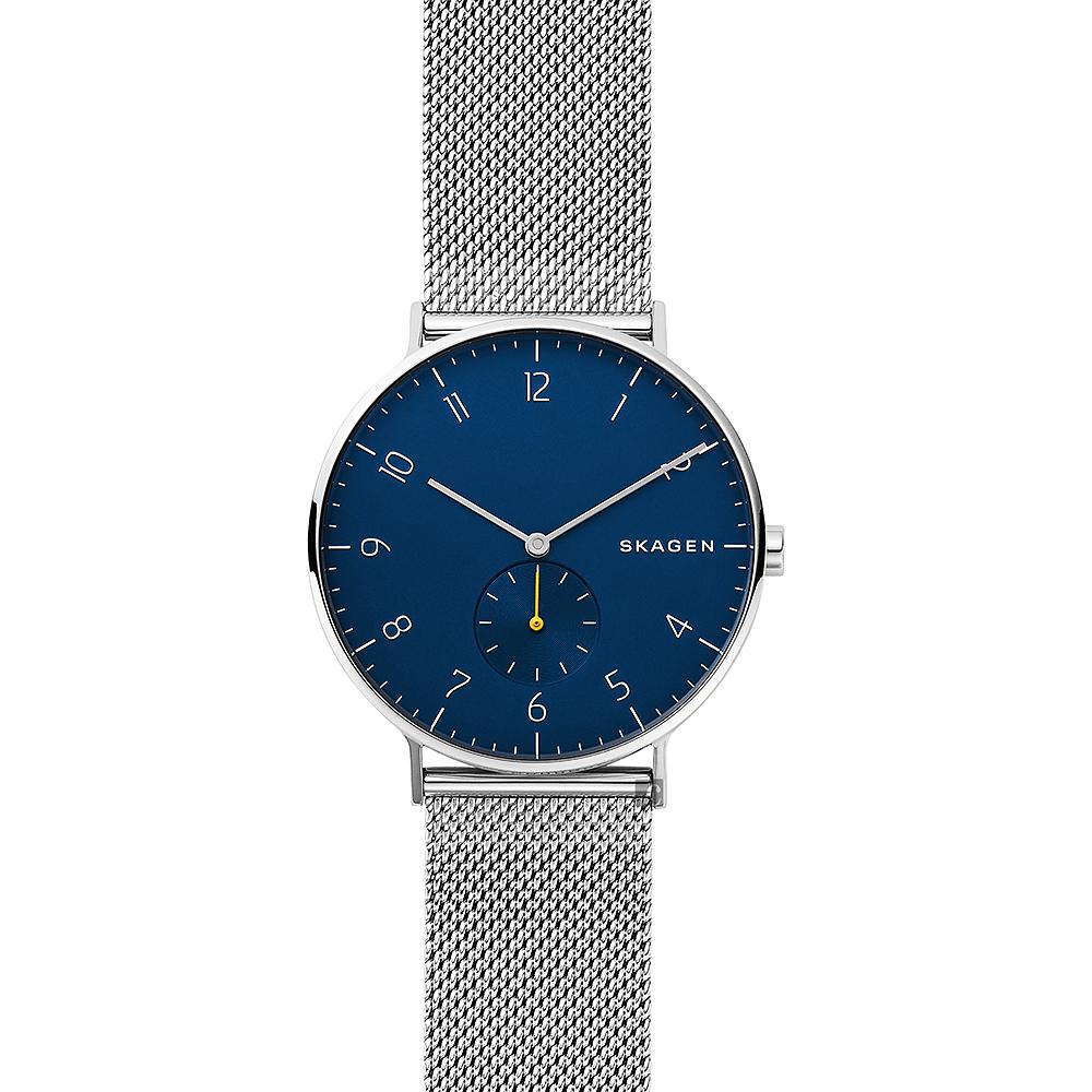 SKAGEN 北歐時尚小秒針石英錶-藍x銀/40mm @ Y!購物