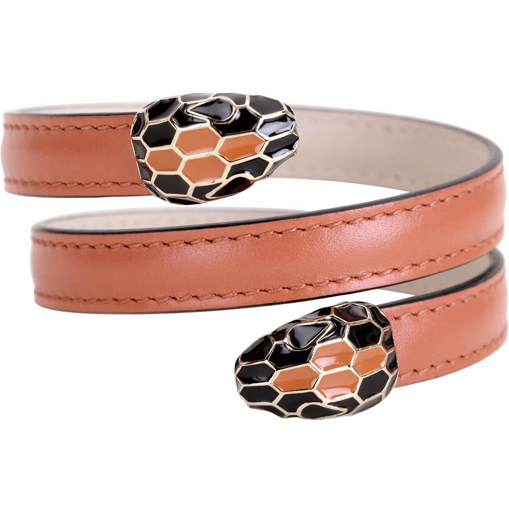 BVLGARI 寶格麗 Serpenti Forever 雙蛇頭峽谷琥珀色牛皮三繞手環