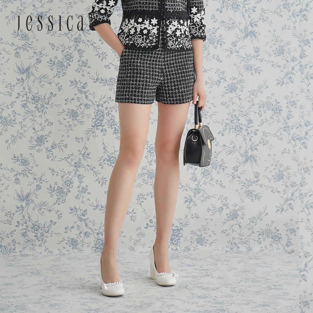 JESSICA - 黑色斜紋軟呢時尚百搭修身闊腿短褲