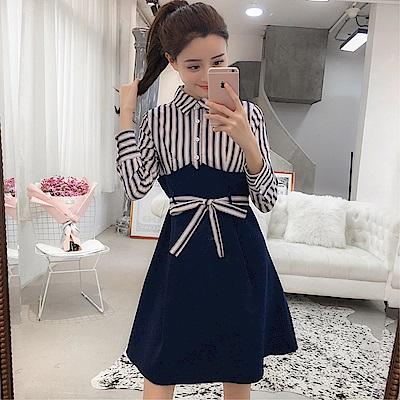 DABI 韓系修身名媛純色氣質拼接條紋襯衫長袖洋裝