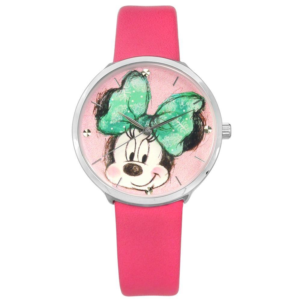 Disney 迪士尼 米奇系列 米妮面板 手繪塗鴉 兒童 卡通 皮革手錶-粉色/35mm