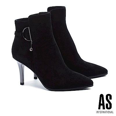 短靴 AS 時髦個性麂皮美型尖頭高跟短靴-黑