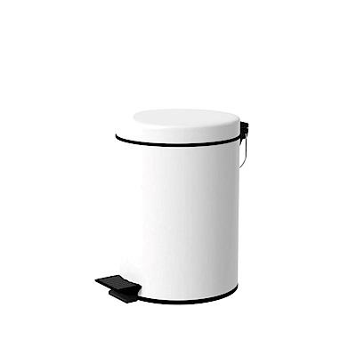 TRENY 加厚 緩降 不鏽鋼垃圾桶 5L (白)