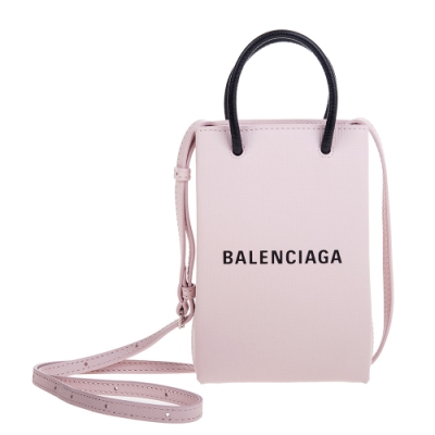 Balenciaga Shopping Phone Holder Bag粉底黑字Logo手提/肩背包