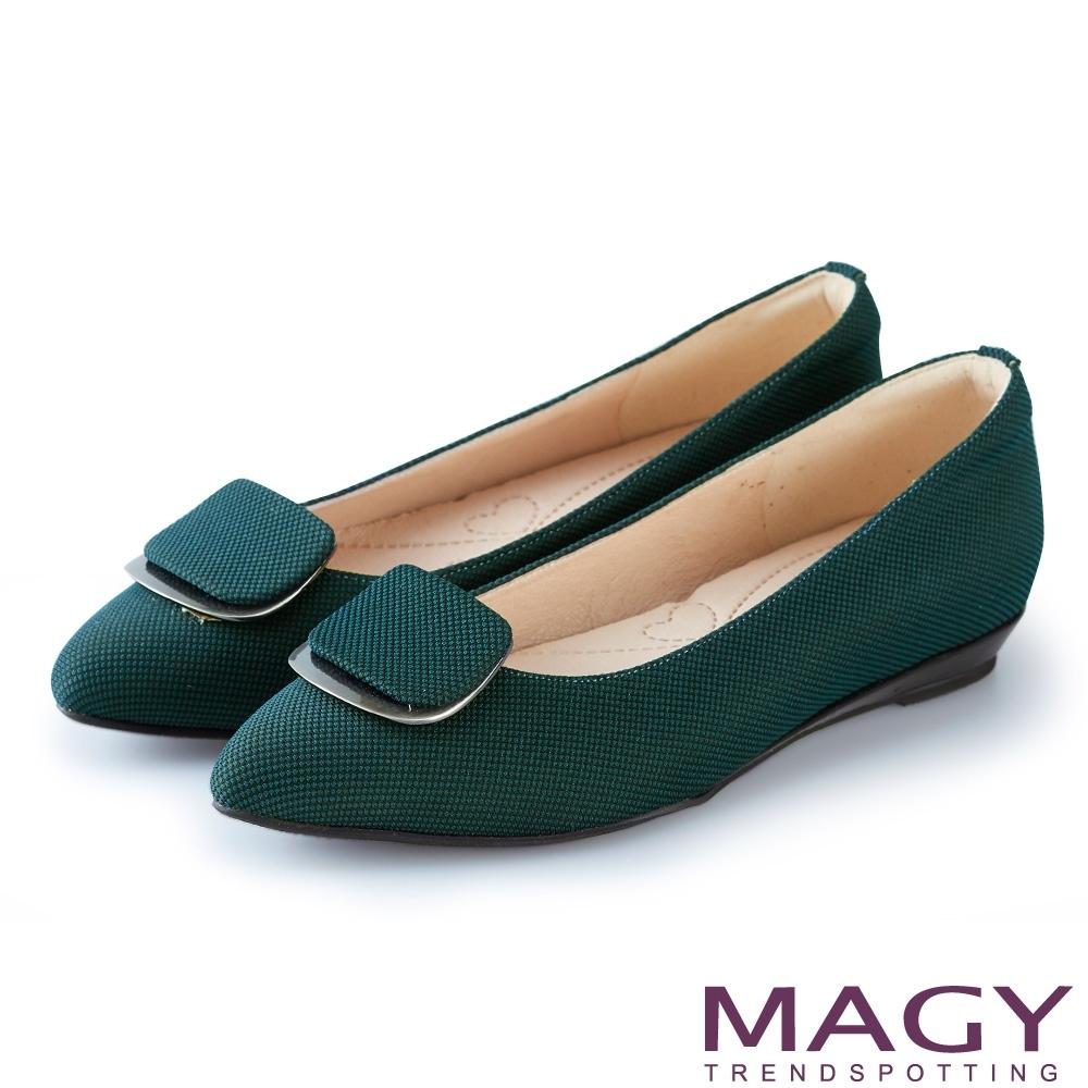 MAGY 造型方釦尖頭 女 平底鞋 綠色