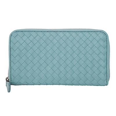 BOTTEGA VENETA 經典小羊皮編織拉鍊長夾 (水藍)