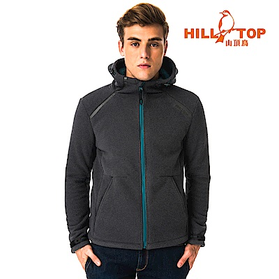 【hilltop山頂鳥】男款防風透氣保暖連帽刷毛外套H22MX2無煙煤