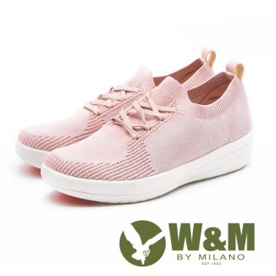 W&M MODARE襪套式 飛線編織厚底女鞋-粉(另有藍)