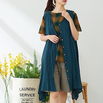 慢 生活 排釦棉麻長罩衫-藍色