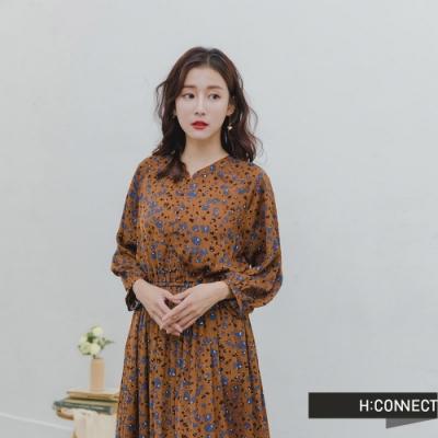 H:CONNECT 韓國品牌 女裝 -撞色小花縮腰洋裝-棕