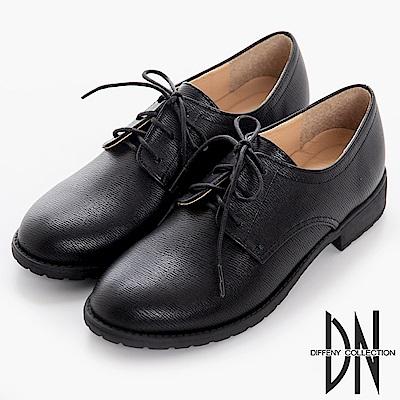 DN 手感打造 MIT素面細紋綁帶牛津鞋-黑
