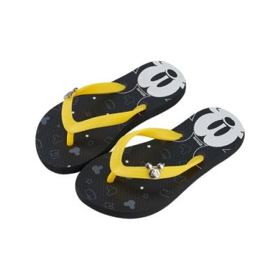 迪士尼親子鞋  米奇  造型海灘大人夾腳拖鞋-黑黃