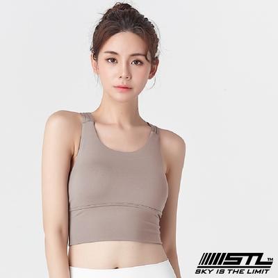 STL Yoga Crop Top Bra 123 韓國瑜伽 女子高度支撐(專利記憶棉胸墊)機能運動內衣/短版上衣 編織裸膚Hazelnut