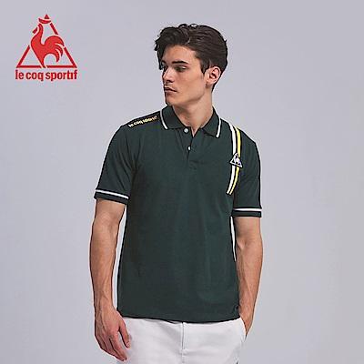 le coq sportif 法國公雞牌雙色線條印花短袖POLO衫 男-軍綠
