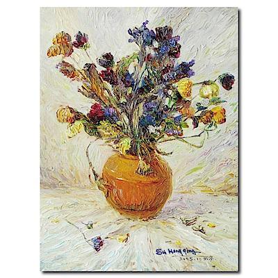 橙品油畫布-單聯式直幅掛畫無框畫-橘花瓶-30x40cm