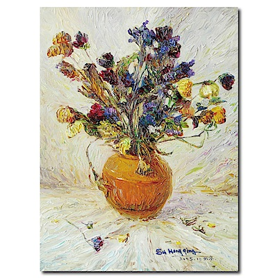 橙品油畫布-單聯式直幅 掛畫無框畫-橘花瓶-60x80cm