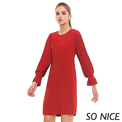 SO NICE典雅壓褶燈籠袖洋裝