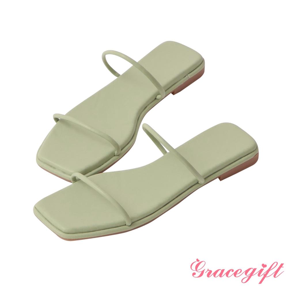 Grace gift-一字細帶平底涼拖鞋 淺綠