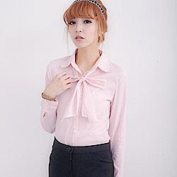 EELADY-氣質款長袖襯衫附領巾-紅