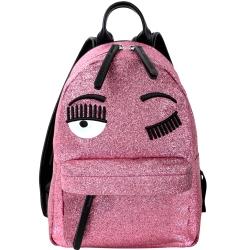 Chiara Ferragni Flirting 小款 細沙感亮片粉色眨眼後背包