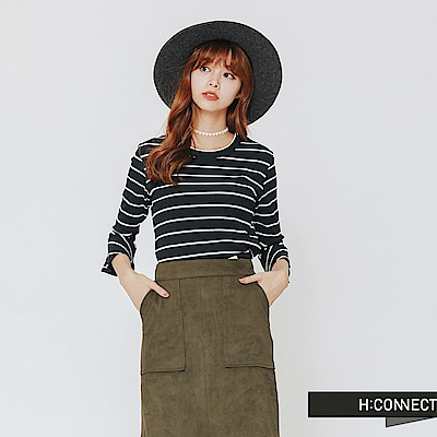 H:CONNECT 韓國品牌 女裝-衣袖設計條紋上衣-藍