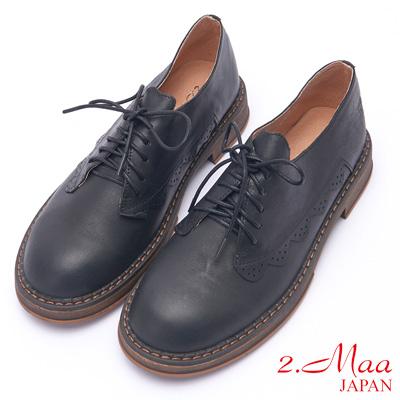 2.Maa 時尚雷射雕花設計綁帶低跟牛津鞋 - 黑