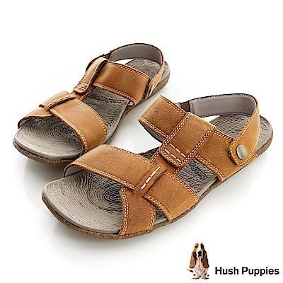 Hush Puppies 亞麻大底超彈力可拆式拖涼鞋-棕色