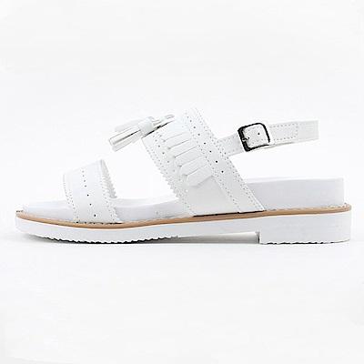【AIRKOREA韓國空運】樂活沖孔雙帶質感流蘇金屬扣涼鞋-白