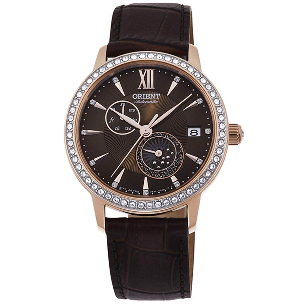 ORIENT 東方錶 璀璨星辰 藍寶石鏡面 機械錶(RA-AK0005Y)咖啡36.5mm