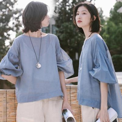 T恤-100支苧麻防曬罩衫泡泡袖上衣長袖-設計所在