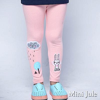 Mini Jule 內搭褲 小兔子貼布雲朵雨天印花彈性長褲(豆粉)