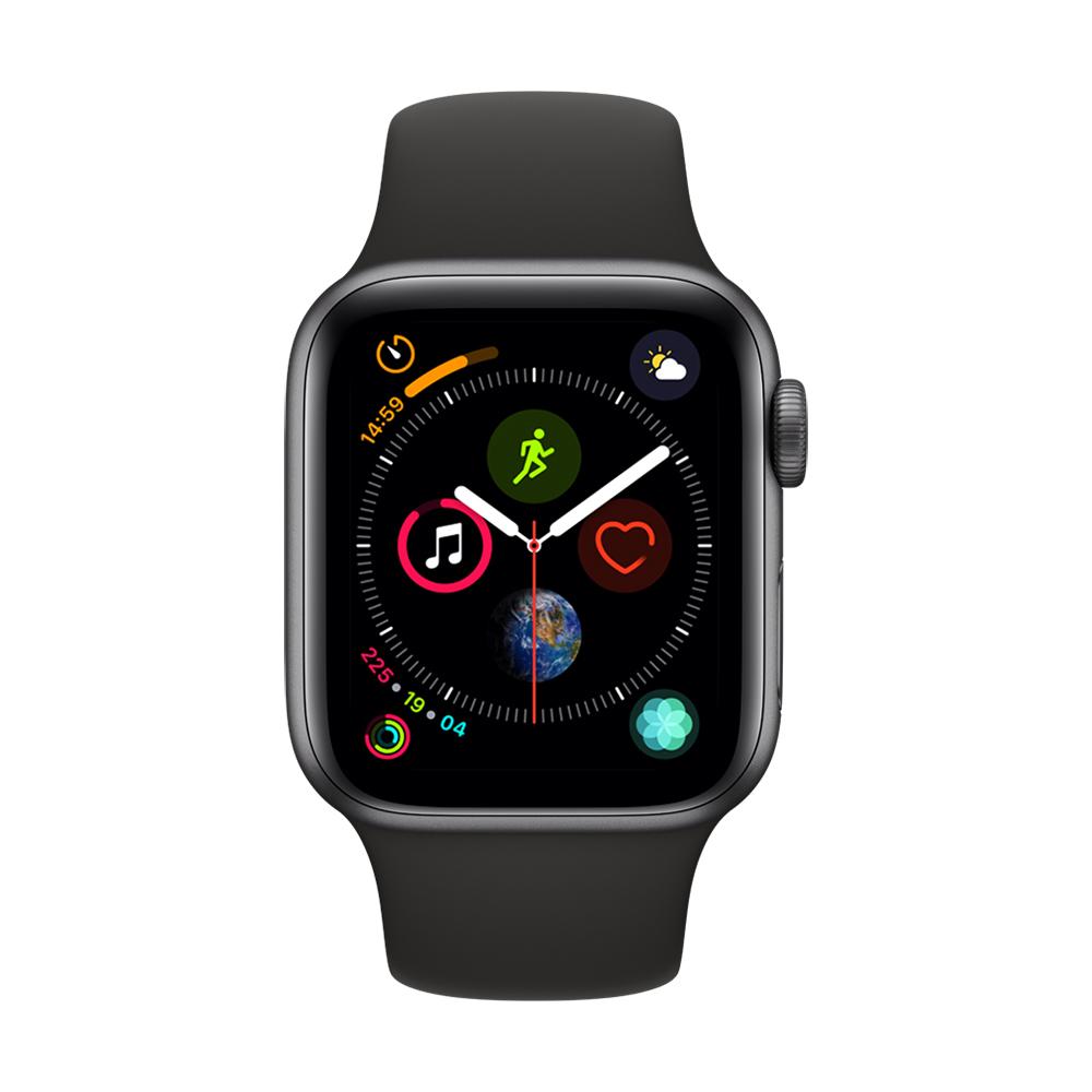 [無卡分期-12期] Apple Watch S4 +網路 40mm 灰色鋁錶殼搭黑色錶帶