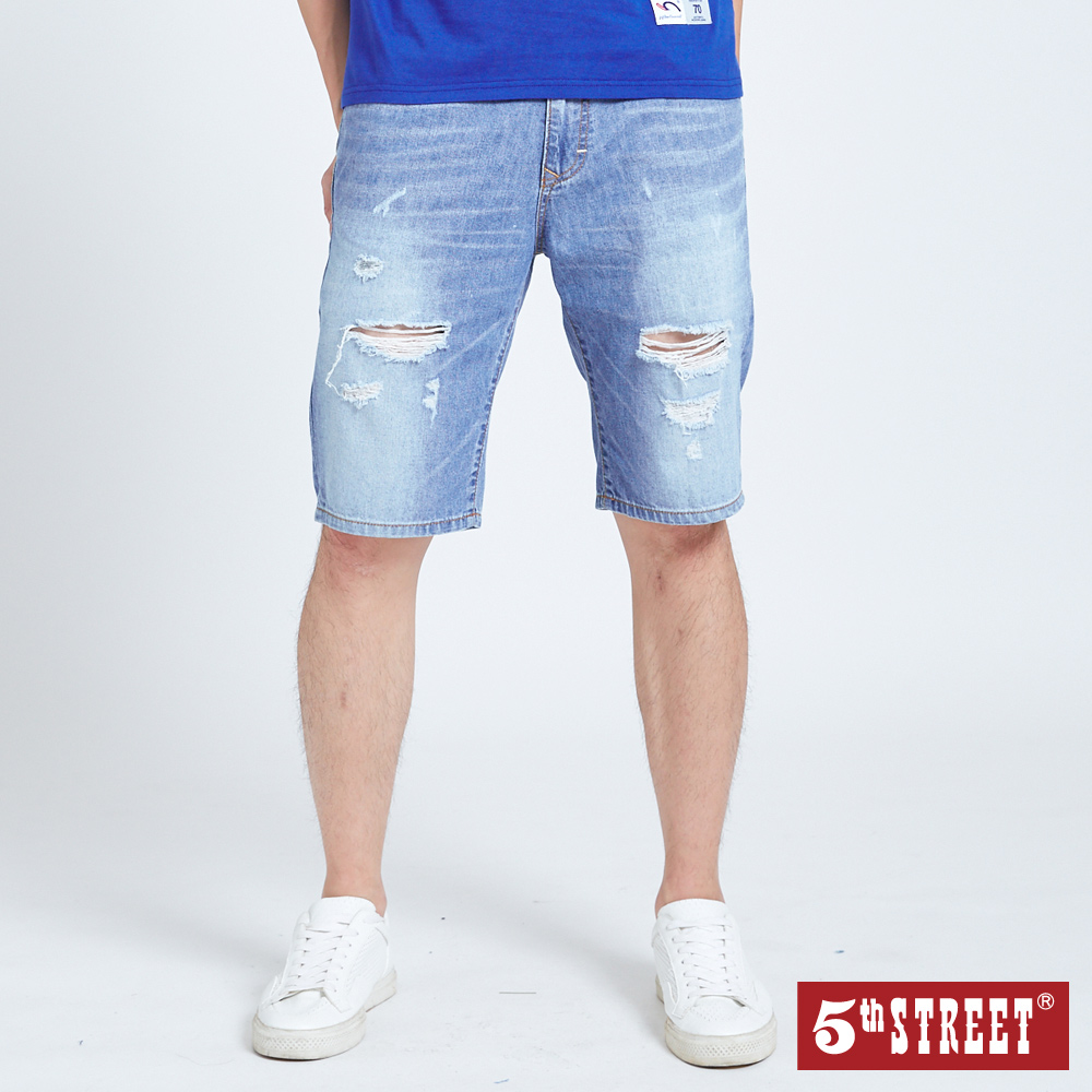 5th STREET 美式破損加工 牛仔短褲-男-拔淺藍