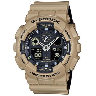 G-SHOCK酷炫雙色個性造型設計休閒運動錶(GA-100L-8A)卡其咖X黑/51.2mm