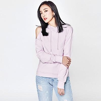 SUITANGTANG 露肩設計休閒帽T-淺紫