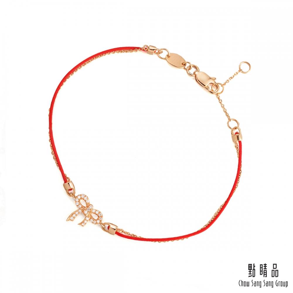點睛品 蝴蝶結 18K玫瑰金鑽石紅繩手鏈