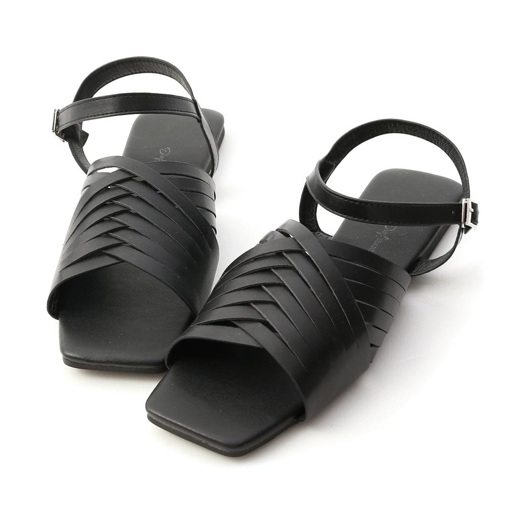 D+AF 復古有型.多線條方頭編織涼鞋*黑