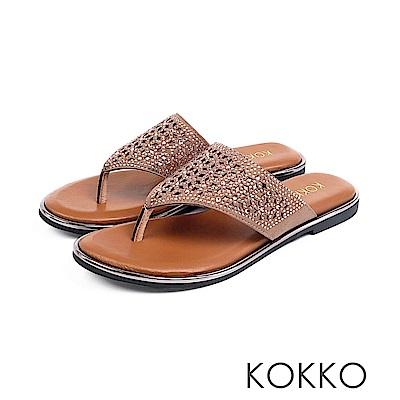 KOKKO - 第五大道貼鑽雕花平底夾腳拖鞋-光亮銅