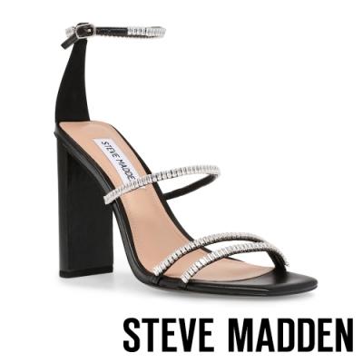 STEVE MADDEN-ARLET 水鑽細帶造型粗跟高跟女鞋-黑色