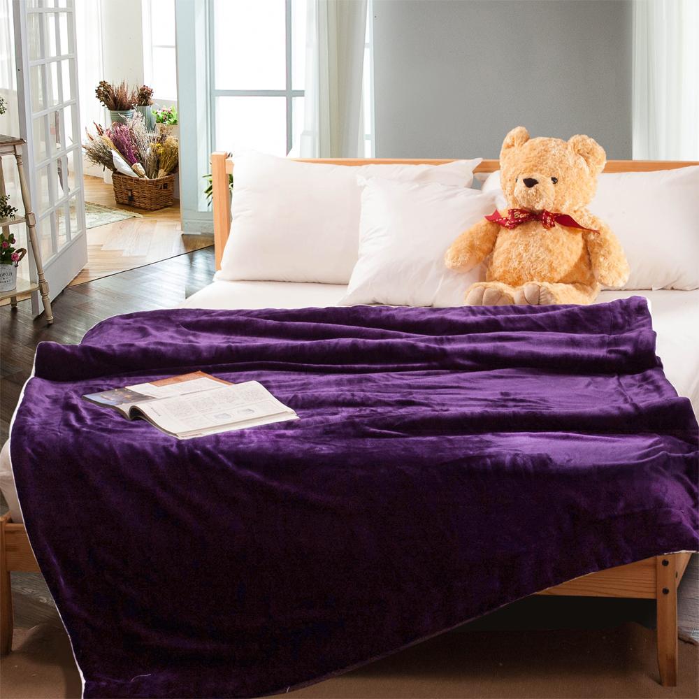 Carolan-紫  羊羔/法萊絨 厚毯(150x200cm)