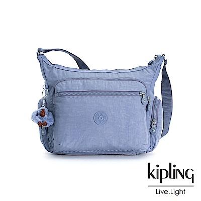 Kipling 溫柔粉藍多袋實用側背包-GABBIE S