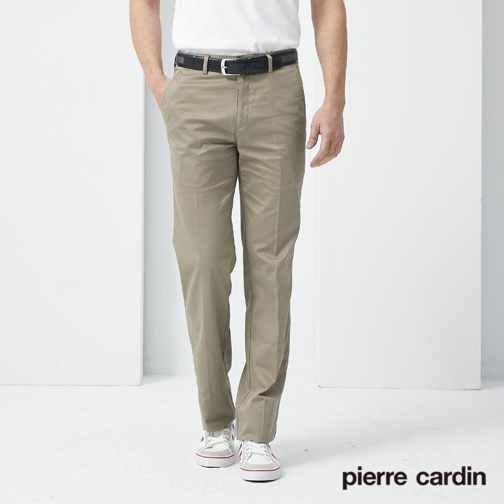 Pierre Cardin皮爾卡登 男裝 彈性素色平口休閒長褲-卡其色(5187881-83)