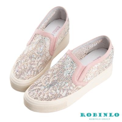 Robinlo 浪漫蕾絲鑲鑽微增高休閒鞋 粉色